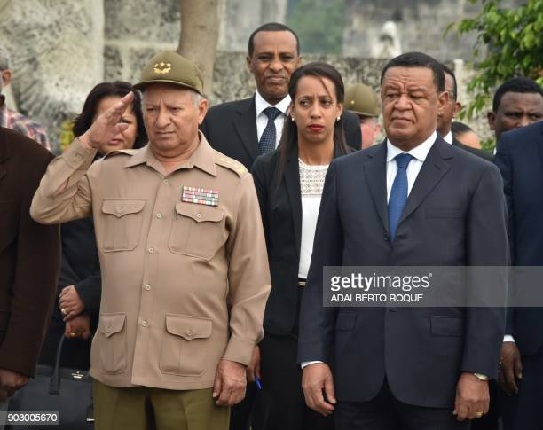 The Minister of the Revolutionary Armed Forces of Cuba General Leopoldo Cintra Frias welcomes Ethiopian President Mulatu Teshome Wirtu during his...