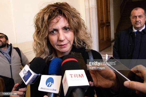The Minister of the South Barbara Lezzi seen speaking at a press conference after the coordination meeting with the Municipality of Matera the Matera...