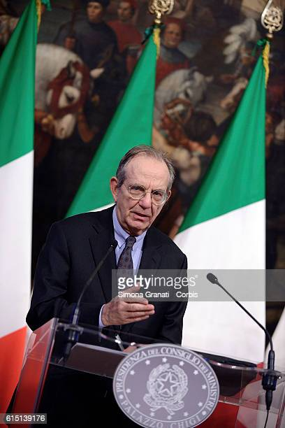 The Minister Pier Carlo Padoan illustrates to the press the law on the State Budget Bill for the financial year 2017 and for the three year period...