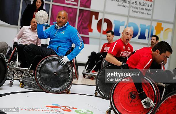The minister,Michael Coteau participates in the demo... Launch event held at the CBC on Front St for the 100 days to ParaPan with speakers and a...