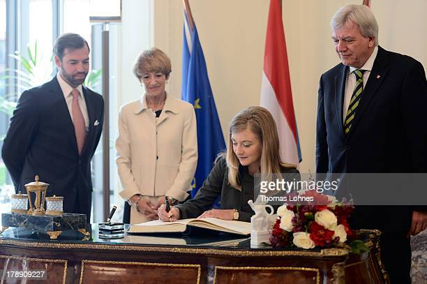 The Ministerpresident of the German state of Hesse Volker Bouffier and his wife Ursula receive Princess Stephanie of Luxembourg and the hereditary...