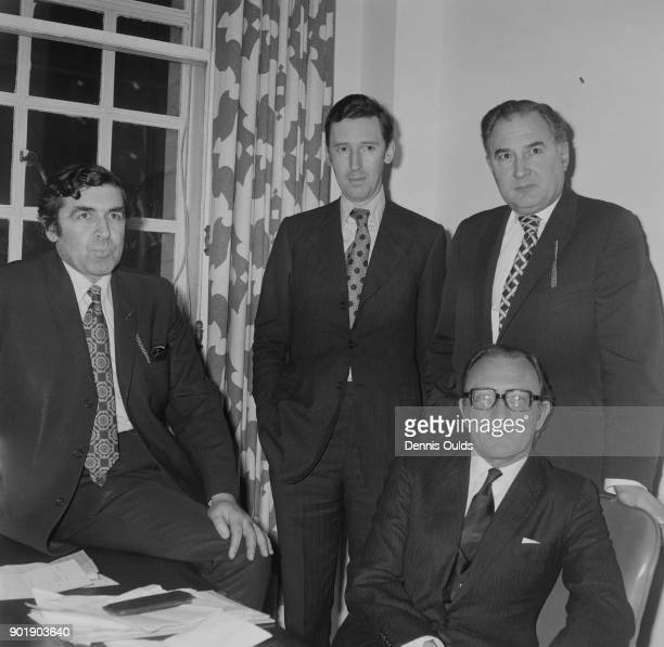 The Ministers of the newlyformed Department of Energy meet at their headquarters in Thames House South Millbank London 14th January 1974 From left to...