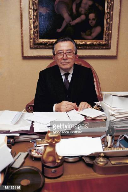 The Ministry of Foreign Affairs of the Italian Republic Giulio Andreotti sitting in front of a desk In the foreground the Telegatto award that he got...