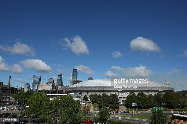The Minneapolis city skyline is a backdrop to the stadium as the Minnesota Vikings defeated the Atlanta Falcons 24-3 at the Metrodome on September 9,...