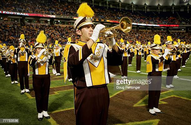 The Minnesota Golden Gophers marching band performs prior to facing the Illinois Fighting Illini at the Hubert H. Humphrey Metrodome on November 3,...