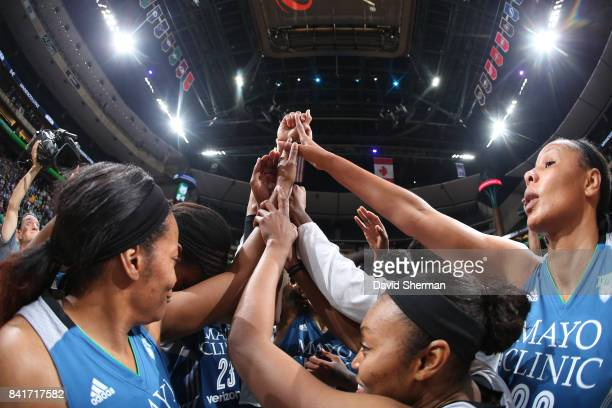 The Minnesota Lynx celebrate a win against the Chicago Sky on September 1 2017 at Xcel Energy Center in St Paul Minnesota NOTE TO USER User expressly...