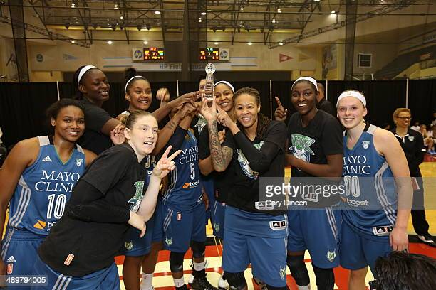 The Minnesota Lynx celebrate following the WNBA Preseason Tournament 2014 championship game on May 11 2014 at ESPN Wide World of Sports Complex in...