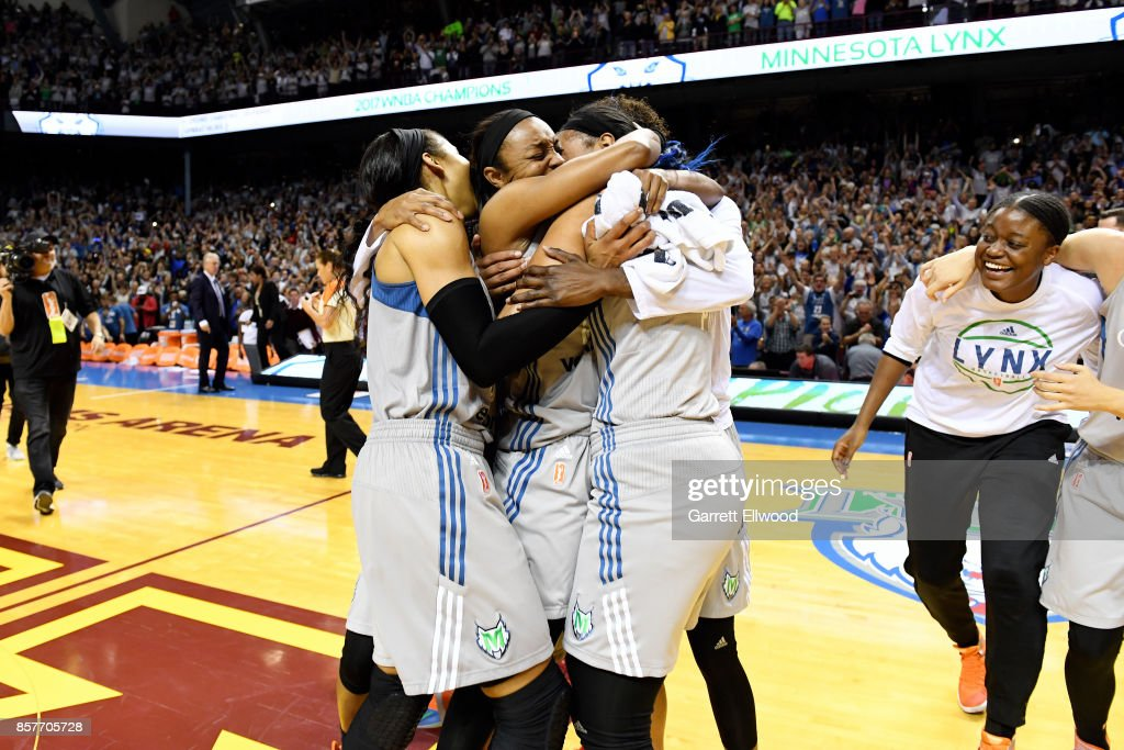 The Minnesota Lynx celebrate their victory against the Los Angeles Sparks after the game in Game Five of the 2017 WNBA Finals on October 4, 2017 in Minneapolis, Minnesota.  NOTE
