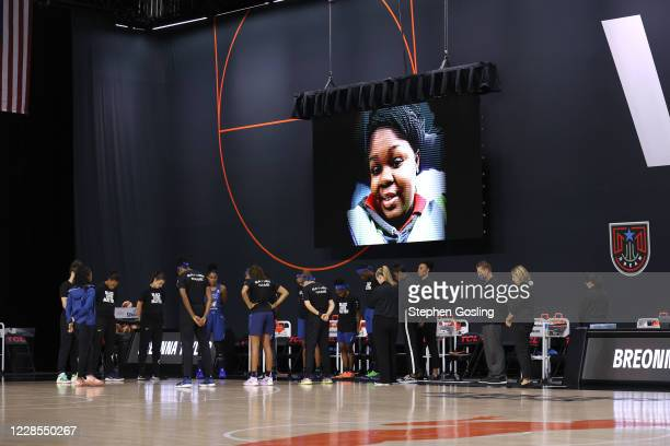The Minnesota Lynx has a moment of silence prior to a game against the Chicago Sky on July 30, 2020 at Feld Entertainment Center in Palmetto,...