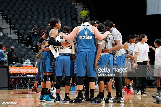 The Minnesota Lynx huddle after the game with the San Antonio Stars on September 11 2016 at ATT Center in San Antonio Texas NOTE TO USER User...