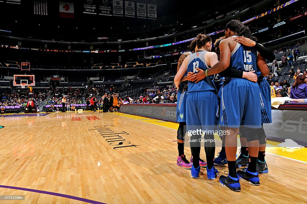The Minnesota Lynx huddle during a game against the Los Angeles Sparks on June 16, 2015 at Staples Center in Los Angeles, California.