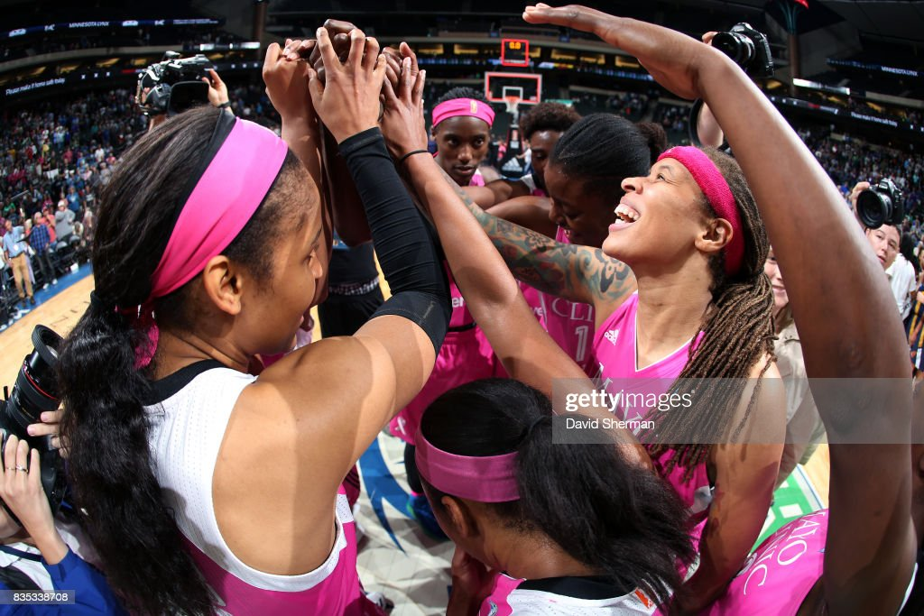 The Minnesota Lynx huddle up after the game against the Indiana Fever during the WNBA game on August 18, 2017 at Xcel Energy Center in St. Paul, Minnesota.