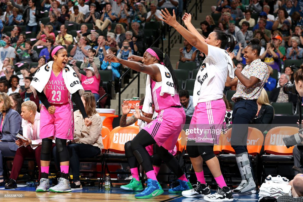 The Minnesota Lynx react during the game against the Indiana Fever during the WNBA game on August 18, 2017 at Xcel Energy Center in St. Paul, Minnesota.