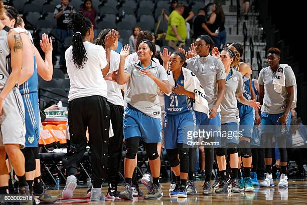 The Minnesota Lynx shake hands with the San Antonio Stars after the game on September 11 2016 at ATT Center in San Antonio Texas NOTE TO USER User...