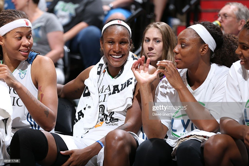 The Minnesota Lynx watch the game from the bench against the San Antonio Stars on July 12, 2015 at Target Center in Minneapolis, Minnesota.