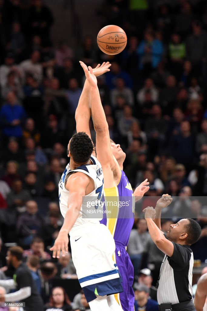 The Minnesota Timberwolves and the Los Angeles Lakers tip off on February 15, 2018 at Target Center in Minneapolis, Minnesota.