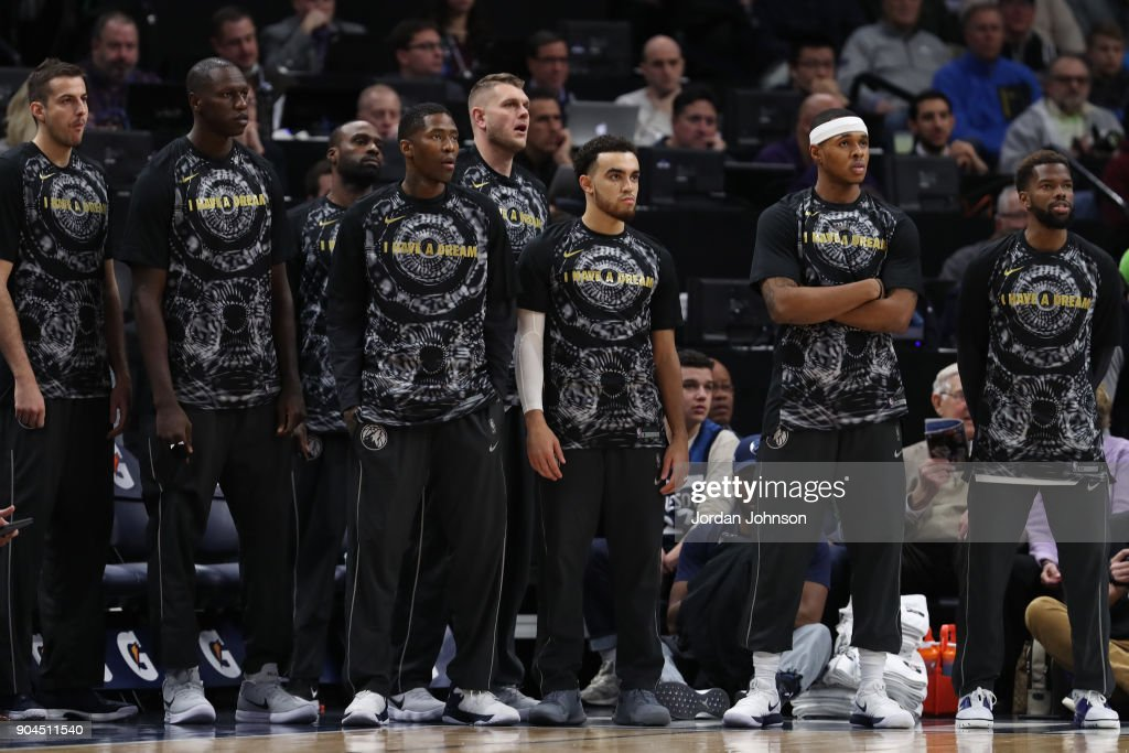The Minnesota Timberwolves bench looks on during the game against the New York Knicks on January 12, 2018 at Target Center in Minneapolis, Minnesota.
