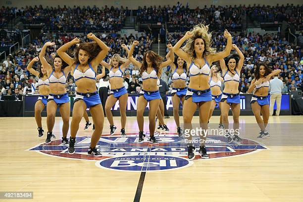 The Minnesota Timberwolves dancers perform during the game against the Chicago Bulls as part of NBA Canada Series 2015 on October 10 2015 at the MTS...