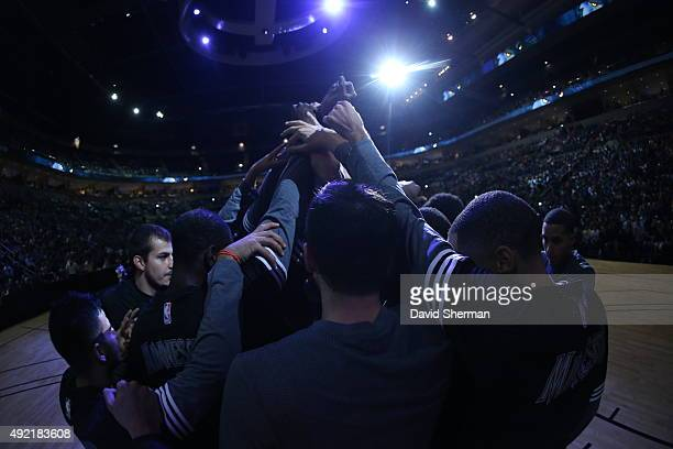 The Minnesota Timberwolves huddle before facing off against the Chicago Bulls as part of NBA Canada Series 2015 on October 10 2015 at the MTS Centre...