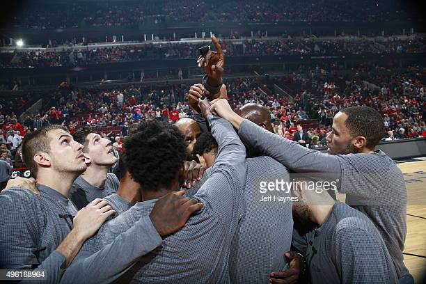 The Minnesota Timberwolves huddle before the game against the Chicago Bulls on November 7 2015 at the United Center in Chicago Illinois NOTE TO USER...