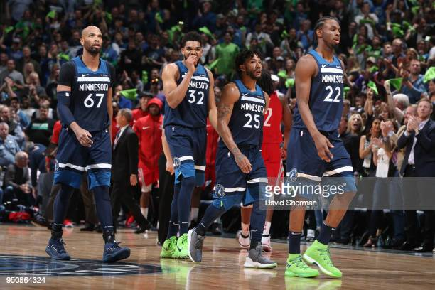 the Minnesota Timberwolves look on in Game Four of Round One of the 2018 NBA Playoffs against the Houston Rockets on April 23 2018 at Target Center...
