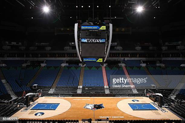 The Minnesota Timberwolves new home floor is empty prior to the game with the Sacramento Kings to open the 2008-2009 season at the Target Center on...