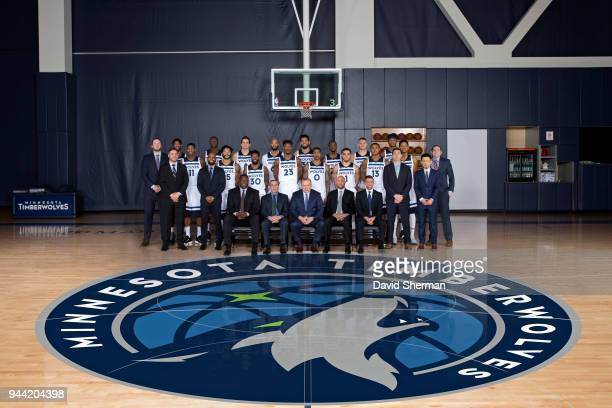The Minnesota Timberwolves pose for a team photo Mayo Clinic Square on April 3 2018 in Minneapolis Minnesota NOTE TO USER User expressly acknowledges...
