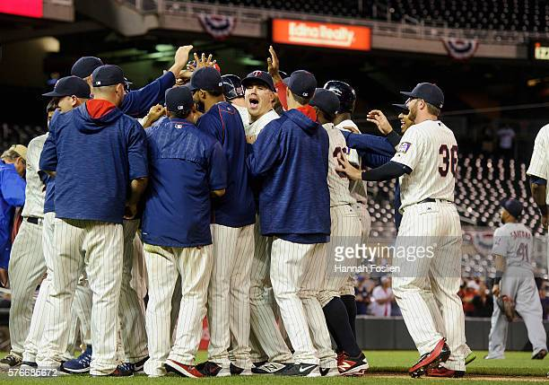 The Minnesota Twins celebrate a walkoff win of the game on against the Cleveland Indians in the early morning hours of July 17 2016 at Target Field...