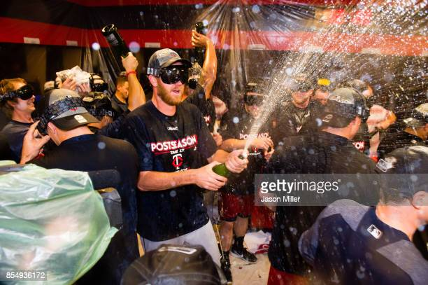 The Minnesota Twins celebrate after clinching the second Wild Card spot of the American League after at Progressive Field on September 27 2017 in...