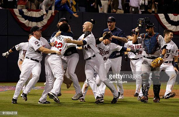 The Minnesota Twins celebrate after defeating the Detroit Tigers during the American League Tiebreaker game on October 6 2009 at Hubert H Humphrey...