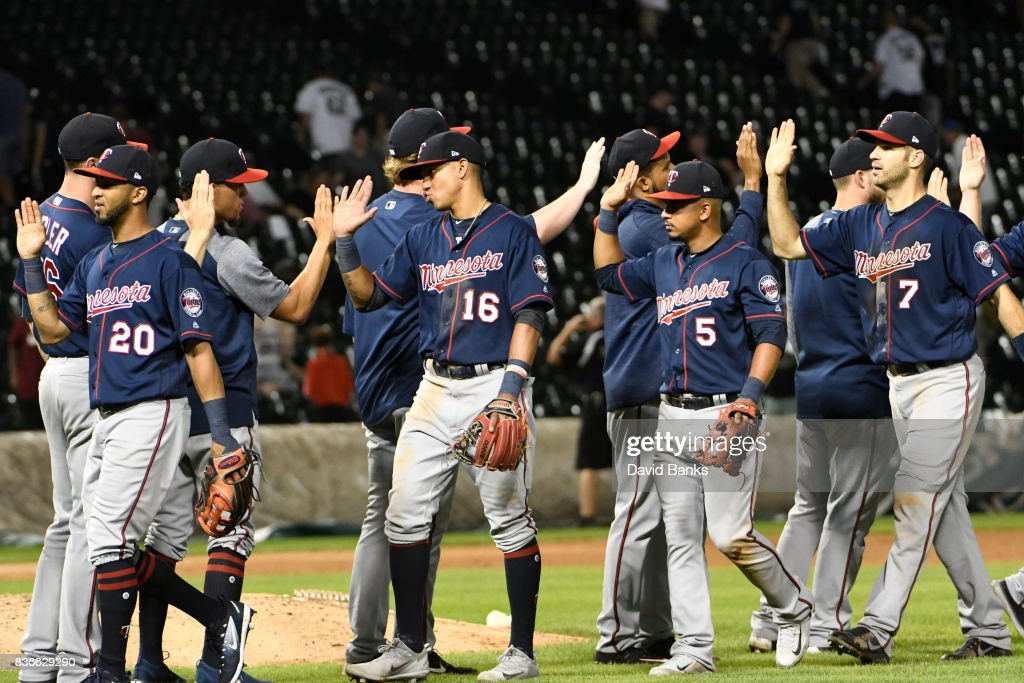 The Minnesota Twins celebrate their win against the Chicago White Sox in game two of a doubleheader on August 21, 2017 at Guaranteed Rate Field in Chicago, Illinois. The Twins defeated the White Sox 10-2.