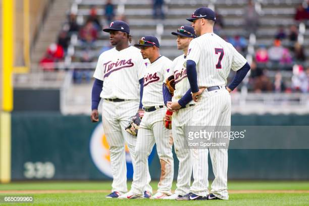 The Minnesota Twins infield looks on during the American League Central division game between the Kansas City Royals and the Minnesota Twins on April...