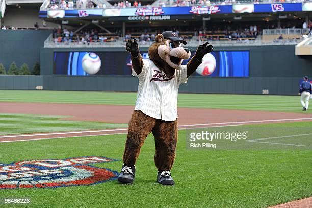 The Minnesota Twins mascot is seen prior to the Opening Day game between the Minnesota Twins and the Boston Red Sox at Target Field in Minneapolis...