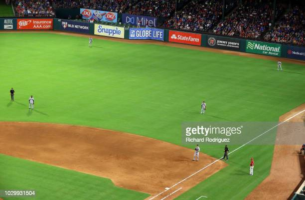 The Minnesota Twins outfield shifts when Joey Gallo of the Texas Rangers bats in the fourth inning of a baseball game at Globe Life Park in Arlington...
