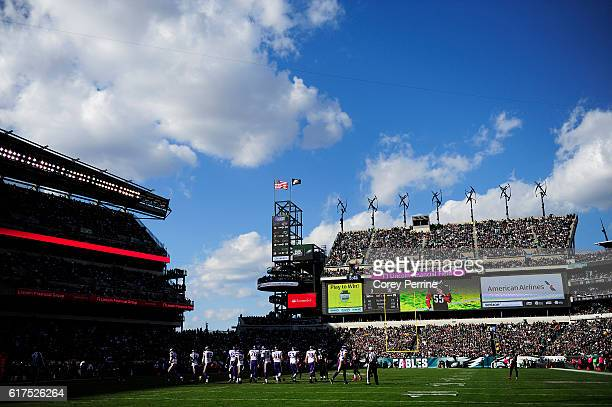 The Minnesota Vikings and the Philadelphia Eagles are shown in the third quarter at Lincoln Financial Field on October 23 2016 in Philadelphia...
