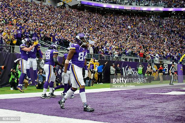 The Minnesota Vikings celebrate a touchdown against the Arizona Cardinals during the game on November 20 2016 at US Bank Stadium in Minneapolis...
