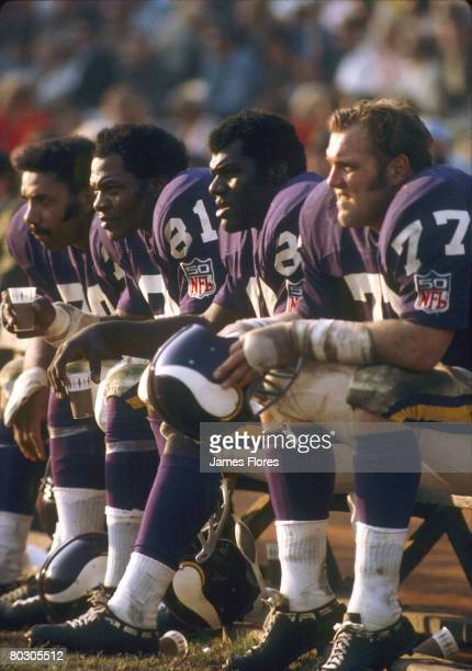 The Minnesota Vikings defenisve line known as the Purple People Eaters including Alan Page Jim Marshall Gary Larsen and Carl Eller sit the bench