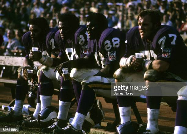 The Minnesota Vikings defensive front four of Jim Marshall Hall of Fame defensive end Carl Eller Hall of Fame defensive tackle Alan Page and Gary...