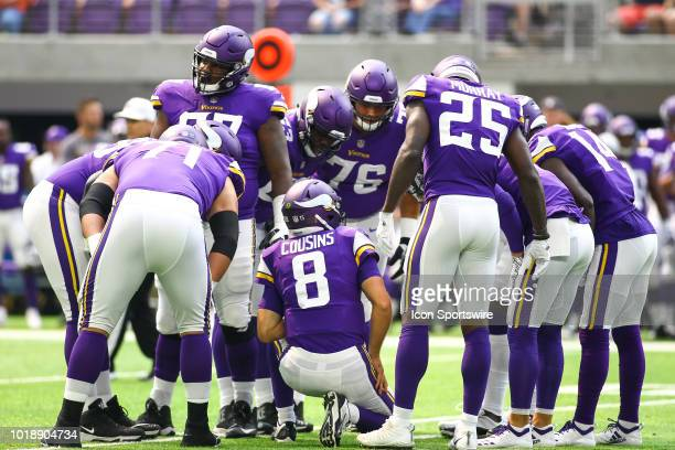The Minnesota Vikings offense gets the play call from quarterback Kirk Cousins during the preseason game between the Jacksonville Jaguars and the...