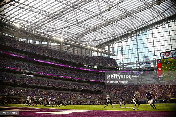 The Minnesota Vikings offense runs a play against the San Diego Chargers defense during the fourth quarter of the game on August 28, 2016 at US Bank...