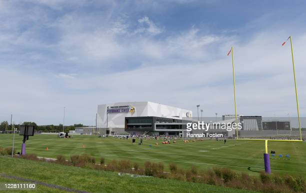 The Minnesota Vikings stretch during training camp on August 19, 2020 at TCO Performance Center in Eagan, Minnesota.