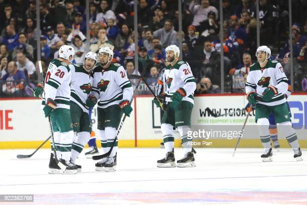 The Minnesota Wild celebrate a goal by Matt Cullen of the Minnesota Wild in the second period during their game at Barclays Center on February 19...