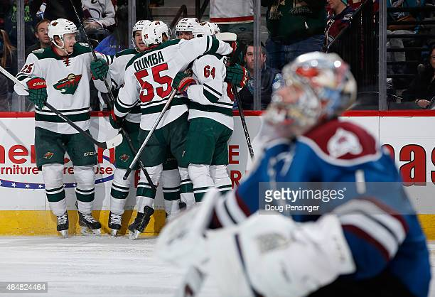 The Minnesota Wild celebrates a goal by Jason Pominville of the Minnesota Wild against goalie Semyon Varlamov of the Colorado Avalanche to take a 31...
