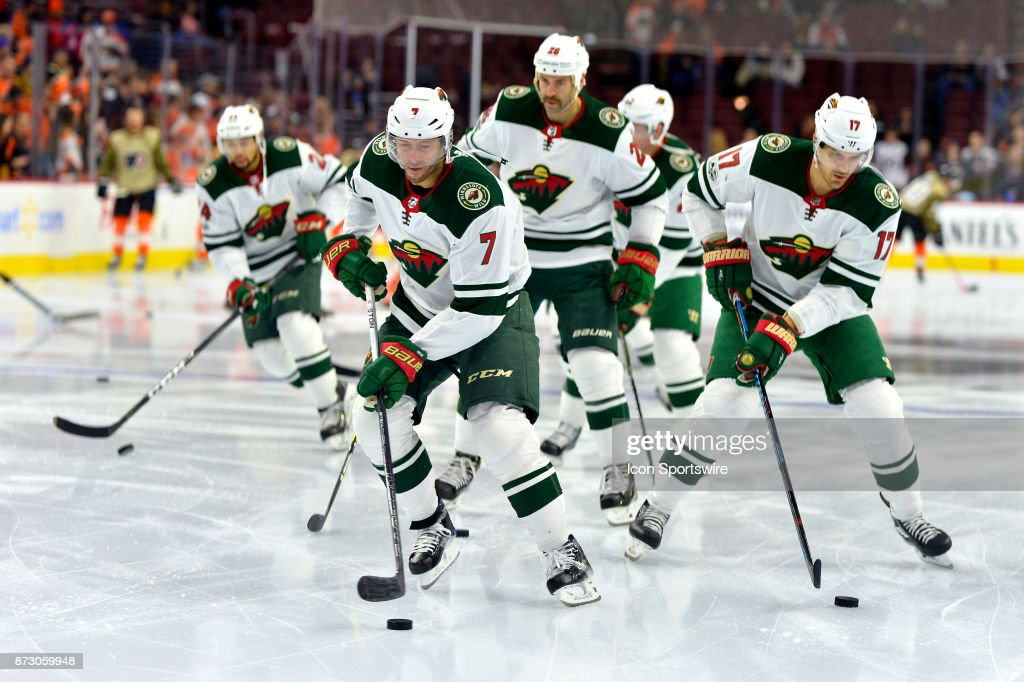 The Minnesota Wild warm up before the NHL game between the Minnesota Wild and the Philadelphia Flyers on November 11, 2017 at the Wells Fargo Center in Philadelphia PA.