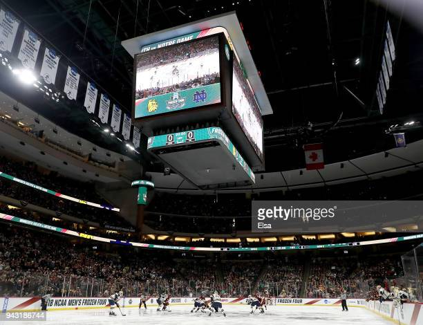 The MinnesotaDuluth Bulldogs and the Notre Dame Fighting Irish face off to start the championship game of the 2018 NCAA Division I Men's Hockey...