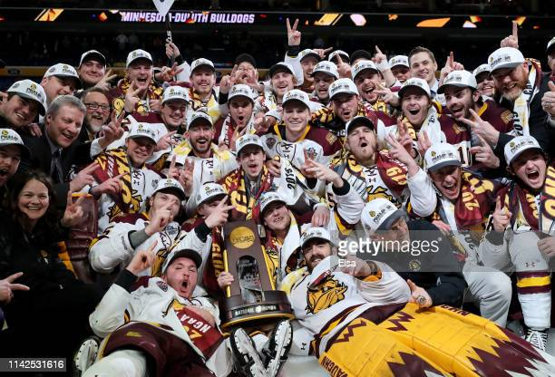 The Minnesota-Duluth Bulldogs celebrate the win of the 2019 NCAA Frozen Four the championship game at KeyBank Center on April 13, 2019 in Buffalo,...