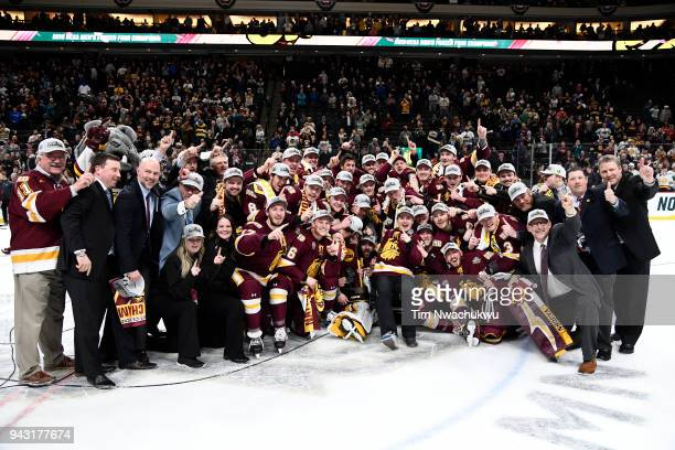 The MinnesotaDuluth Bulldogs celebrate their victory over the Notre Dame Fighting Irish during the Division I Men's Ice Hockey Semifinals held at the...