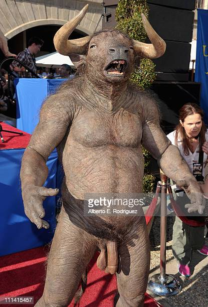 The Minotaur arrives at the premiere of Universal Pictures' Your Highness at the University of California Santa Barbara on April 1 2011 in Santa...