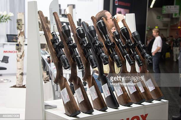 The Minox riflescopes at the 2014 Photokina trade fair on September 21 2014 in Cologne Germany Photokina is the world's largest trade fair for...