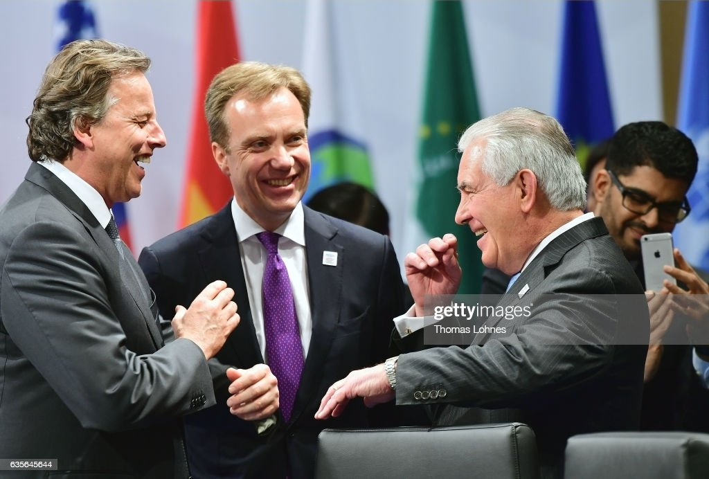 The Minster of Foreign Affairs Borge Brende of Norway (C), Bert Koenders of Netherlands , (L) and U.S. Secretary of State Rex Tillerson (R) speak before the beginning of the G20 foreign ministers' meeting on February 16, 2017 in Bonn, Germany. The meeting is the first occasion that high-level diplomats from the world's most influential countries are coming together since the inauguration of new U.S. President Donald Trump.